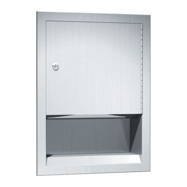Traditional Recessed Stainless Steel C-Fold/Multi-Fold Paper Towel Dispenser - Satin Finish