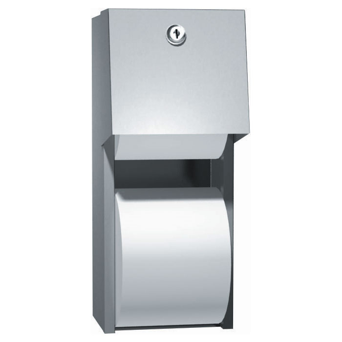 American Specialties Stainless Steel Surface Mounted Dual Roll Toilet Tissue Dispenser