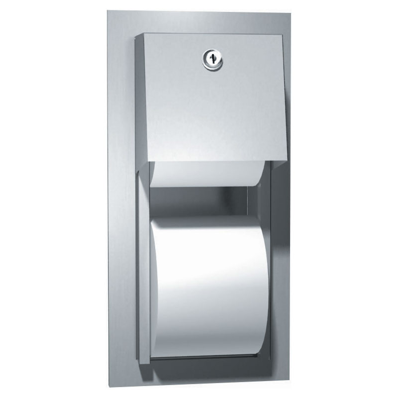 American Specialties Stainless Steel Recessed Dual Roll Toilet Tissue Dispenser