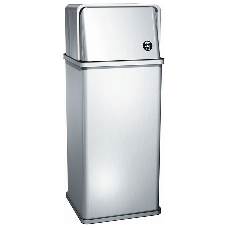 14 gal free standing waste receptacle w swing top unoclean for Commercial bathroom trash cans