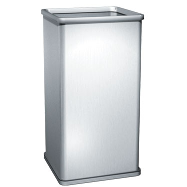 19 gal free standing waste receptacle unoclean for Commercial bathroom trash cans