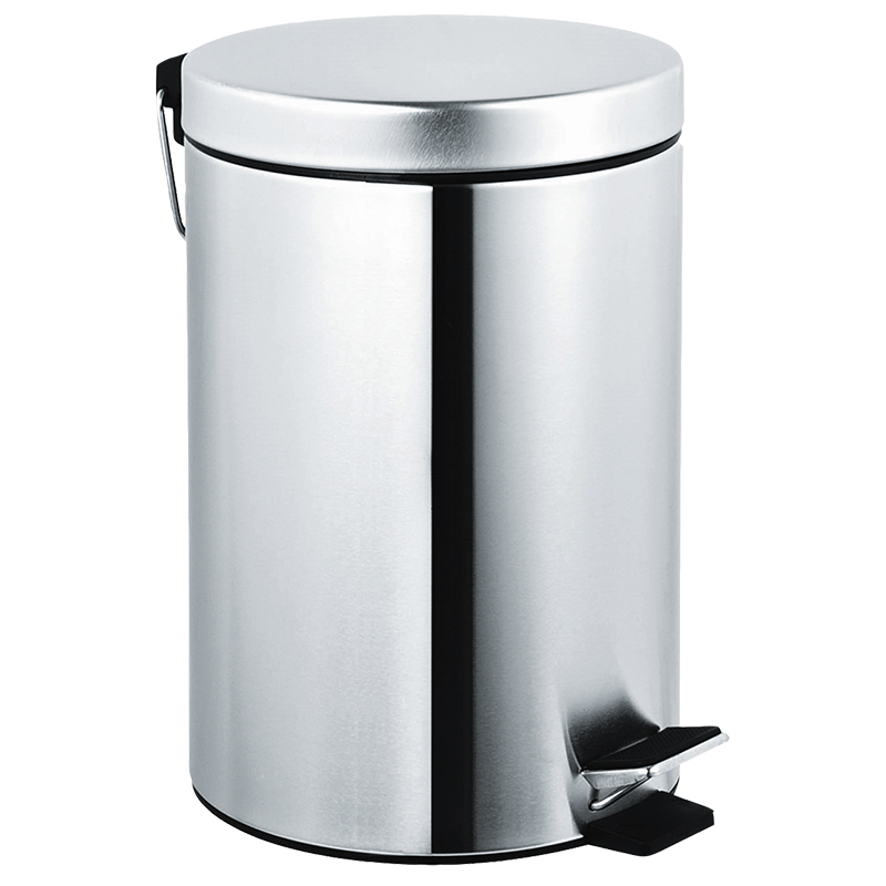 Satin finish stainless steel waste receptacle w foot - Commercial bathroom waste receptacles ...