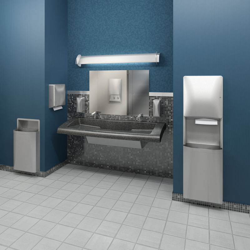Industrial Restroom Equipment : Diplomat recessed waste receptacle gallon unoclean