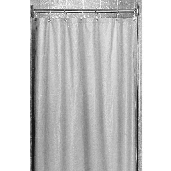 White Antimicrobial Nylon Vinyl Shower Curtain
