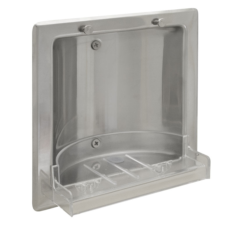 Brigh Polish Stainless Steel Soap Dish - Recessed