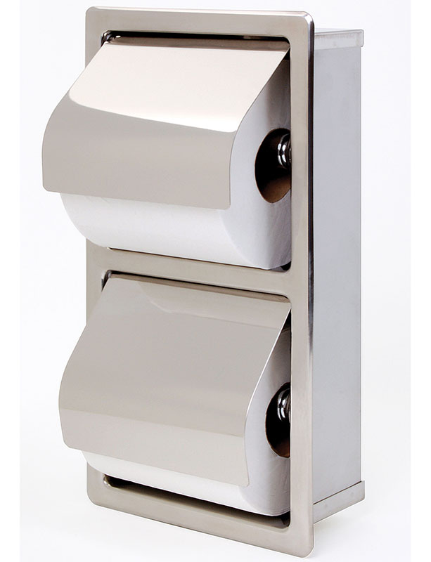 Recessed Stacking Rolls Tissue Dispenser w/ Hinged Hood