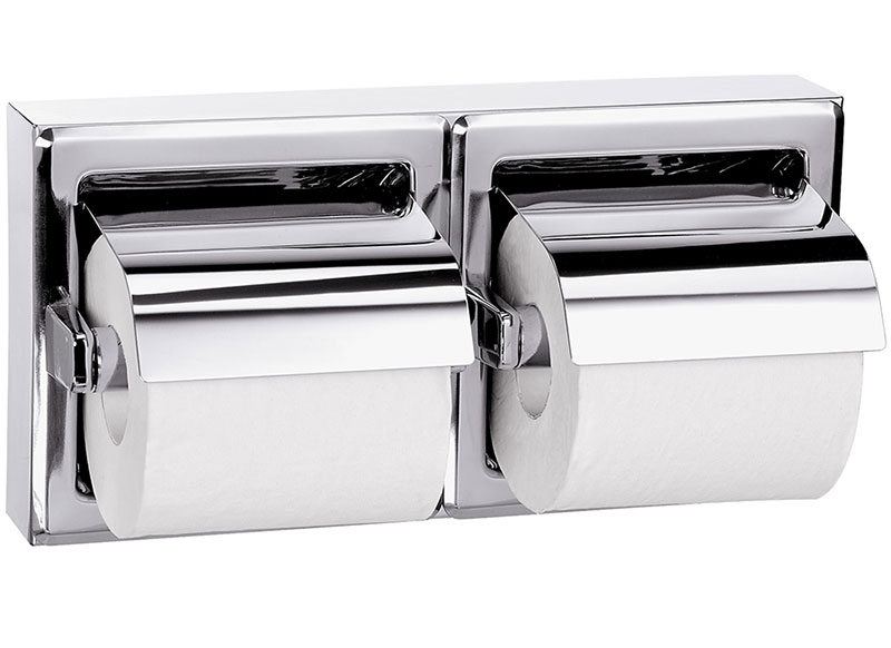Surface Mounted Hinged Hood Dual Roll Tissue Dispenser