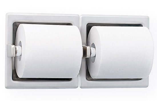 Recessed Dual Roll Toilet Paper Holder - Bright Polished