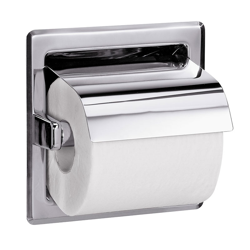 Recessed Hinged Hood Toilet Paper Holder