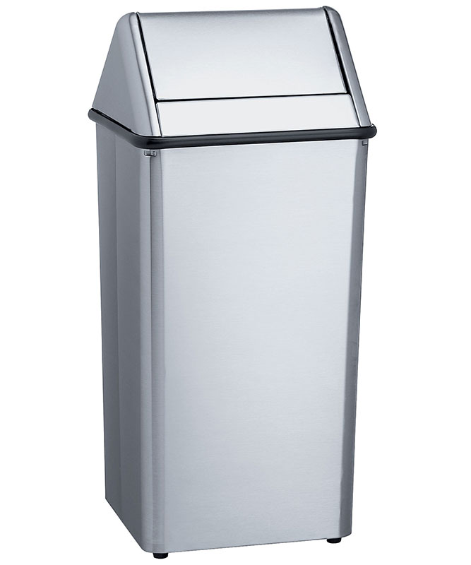 Standard 36 gallon free standing waste receptacle unoclean for Commercial bathroom trash cans