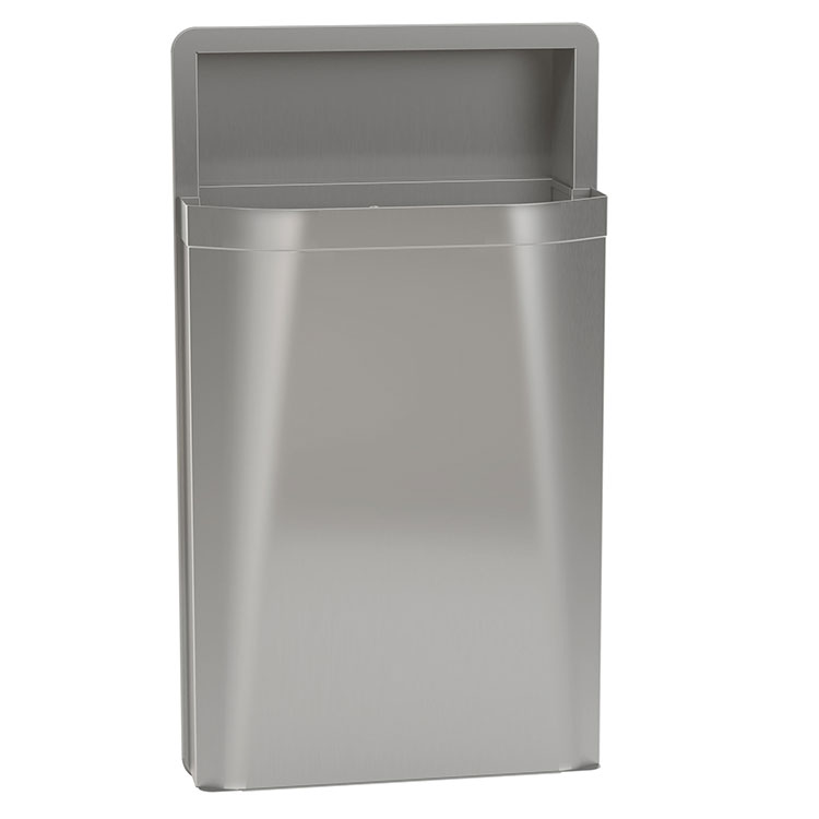 Diplomat semi recessed waste receptacle 12 gallon unoclean for Commercial bathroom trash cans