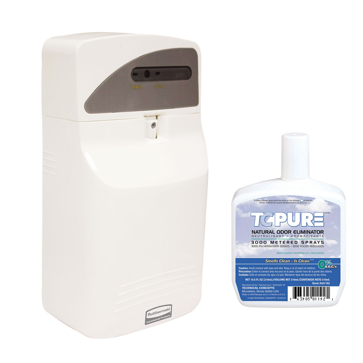 TC Rubbermaid AutoFresh Odor Control LED Pump Dispenser Kit