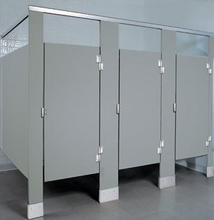 Solid Plastic Toilet Partitions HDPE UnoClean - Industrial bathroom partitions