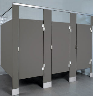 Solid plastic toilet partitions hdpe unoclean for Commercial bathroom partition doors