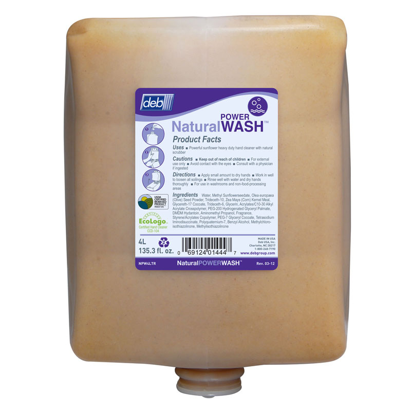 Deb Natural Power Wash Hand Cleaner Solvent Free - (4) 4 Liter Cartridge