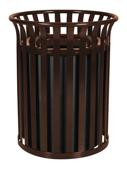 Streetscape Outdoor Trash Receptacle - Coffee