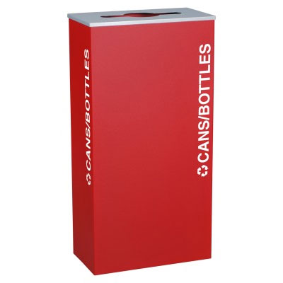 Cans & Bottles Recycling Receptacle Bin Container - 17 Gal - Red