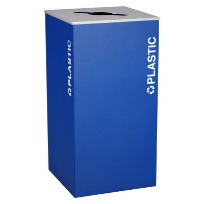 Ex-Cell RC-KD36-PL-RYX Plastic Recycling Receptacle Container - 36 Gal - Blue