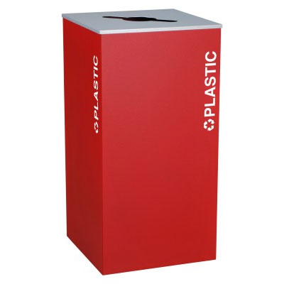 Ex-Cell RC-KD36-PL-RBX Plastic Recycling Receptacle Container - 36 Gal - Red