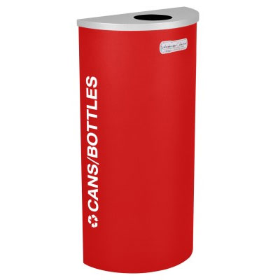 Cans and Bottles Recycling Receptacle Red Bin Container EXC-RC-KDHR-C-RBX