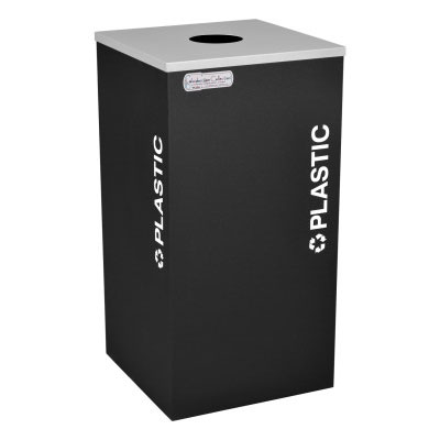 Plastic Recycling Receptacles Black Bin Container EXC-RC-KDSQ-PL-BLX