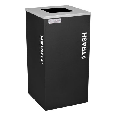 Trash Recycling Receptacle Black Bin Container EXC-RC-KDSQ-T-BLX