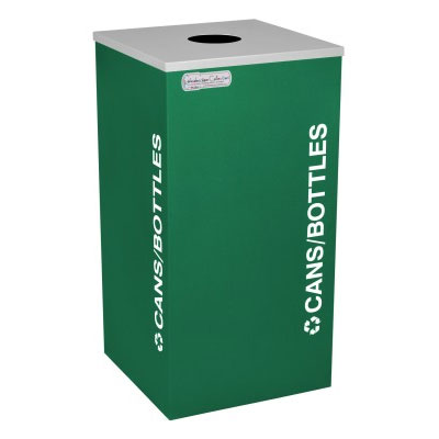 Ex-Cell RC-KDSQ-C-EGX Cans & Bottles Recycling Receptacle Rectangual Container - 18 Gal - Green EXC-RC-KDSQ-C-EGX