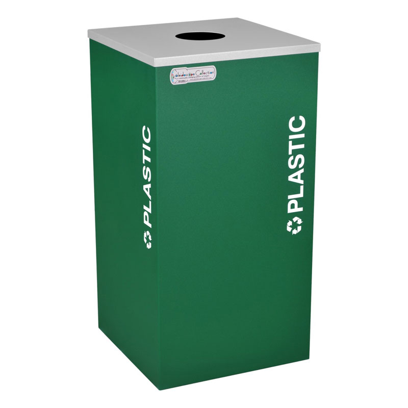 Plastic Recycling Receptacle Green Bin Container EXC-RC-KDSQ-PL-EGX
