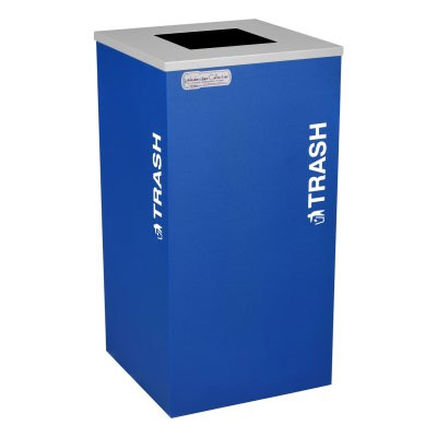 Trash Recycling Receptacle Blue Bin Container EXC-RC-KDSQ-T-RYX