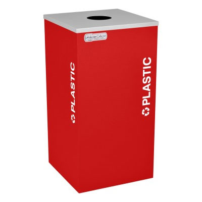 Plastic Recycling Receptacle Red Bin Container EXC-RC-KDSQ-PL-RBX