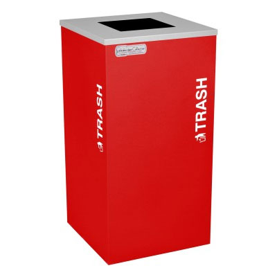Trash Recycling Receptacle Red Bin Container EXC-RC-KDSQ-T-RBX