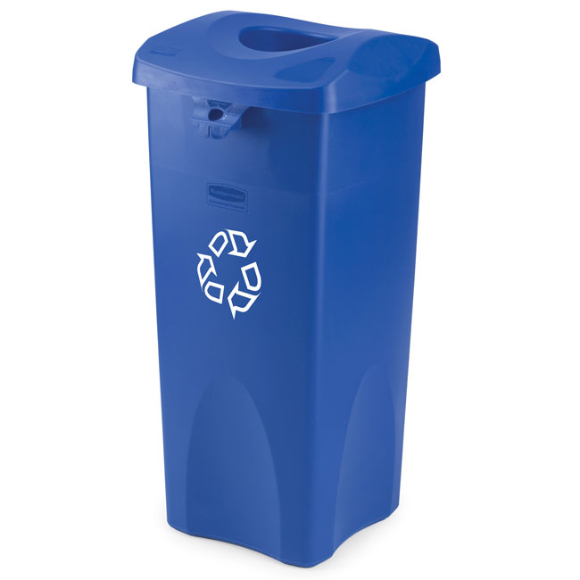 Rubbermaid [2691] Untouchable® Bottle & Can Recycling Container Top - Square - Blue