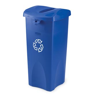 Rubbermaid [3569-73] Untouchable® Square Recycling Container - 23 Gallon