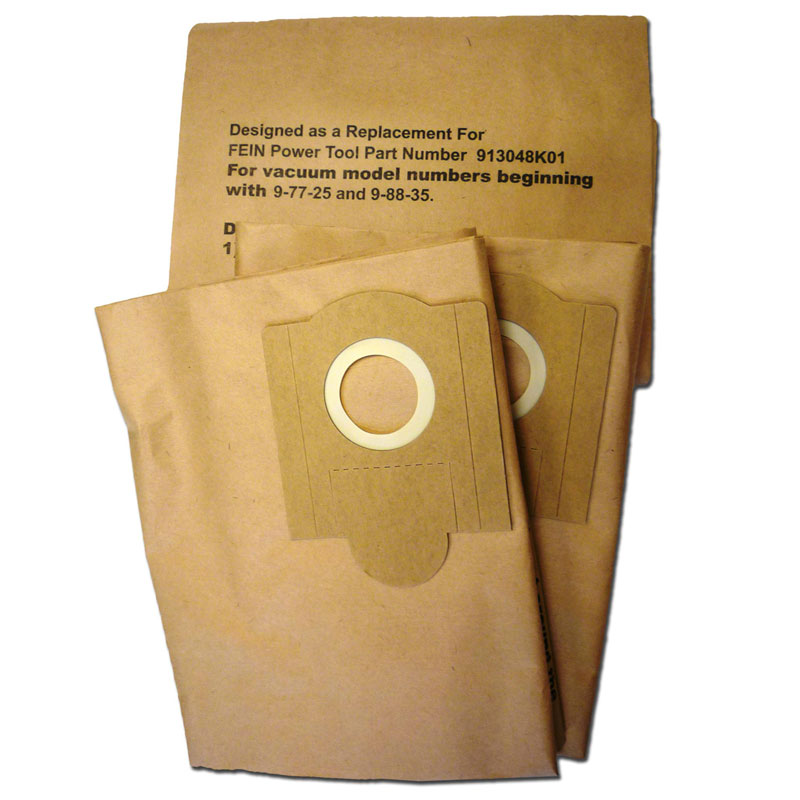 Vacuum Replacement Filter Bag - Fein Power 913048K01 Turbo III - Case 12 (3) Packs