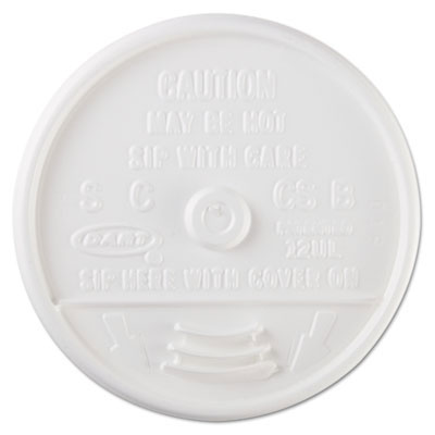 Sip Thru Plastic Lids, Fits 10-14oz Foam Cups - 1000 Case DCC12UL