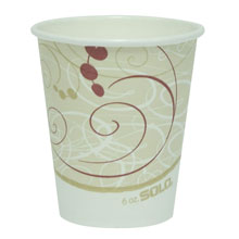 Paper Hot Cups, Polylined, 6 oz., Symphony Design, Beige/White, 50/Bag