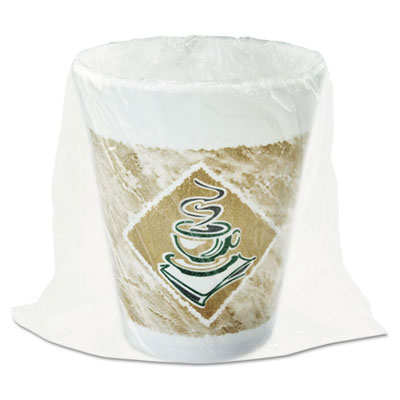 Foam Hot/Cold Cups, 8 oz., Cafe G Design, White/Brown with Green Accents