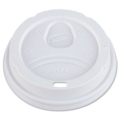 Dome Drink-Thru Lids, Fits 12 oz. & 16 oz. Paper Hot Cups, White DIXD9542