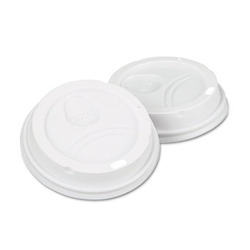 Dome Drink-Thru Lids, Fits 10, 12 & 16 oz. Paper Hot Cups, White DIX9542500DX