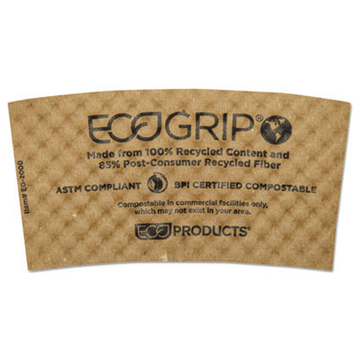 EcoGrip Hot Cup Sleeves - Renewable & Compostable - 1300 Case ECOEG2000