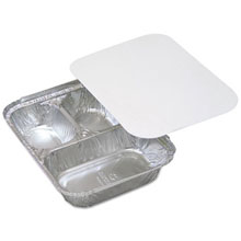 "Aluminum Food Trays, 3-Compartment - 8"" x 8"" 1.5"" - 400 Trays PCT713935Y"