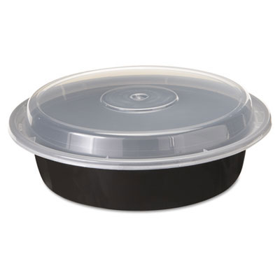 Versatainers 1-Comp Black/Clear Food Container