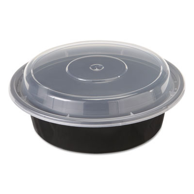 VERSAtainers 1-Comp Black/Clear Flood Containers w/ Lids - 16 oz.