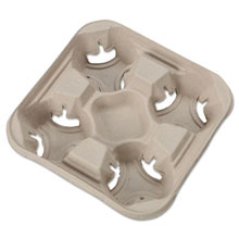 4 Cup StrongHolder Molded Fiber Cup Tray - 8-32 oz. - 300 Case HUH20994CT