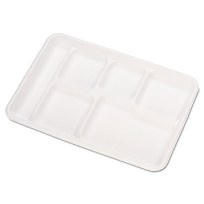 Heavy-Weight Molded Fiber Cafe Tray, 6-Compartment, 8 1/2x12 1/2, 125/Bag