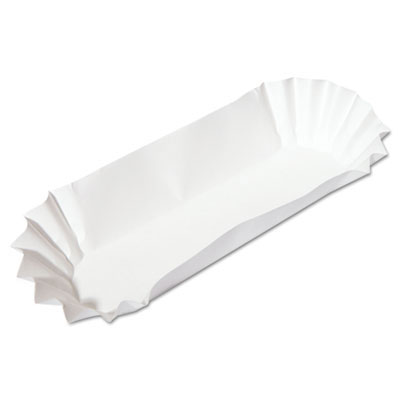 Fluted Hot Dog Trays, 6w x 2d x 2h, White HFM610740