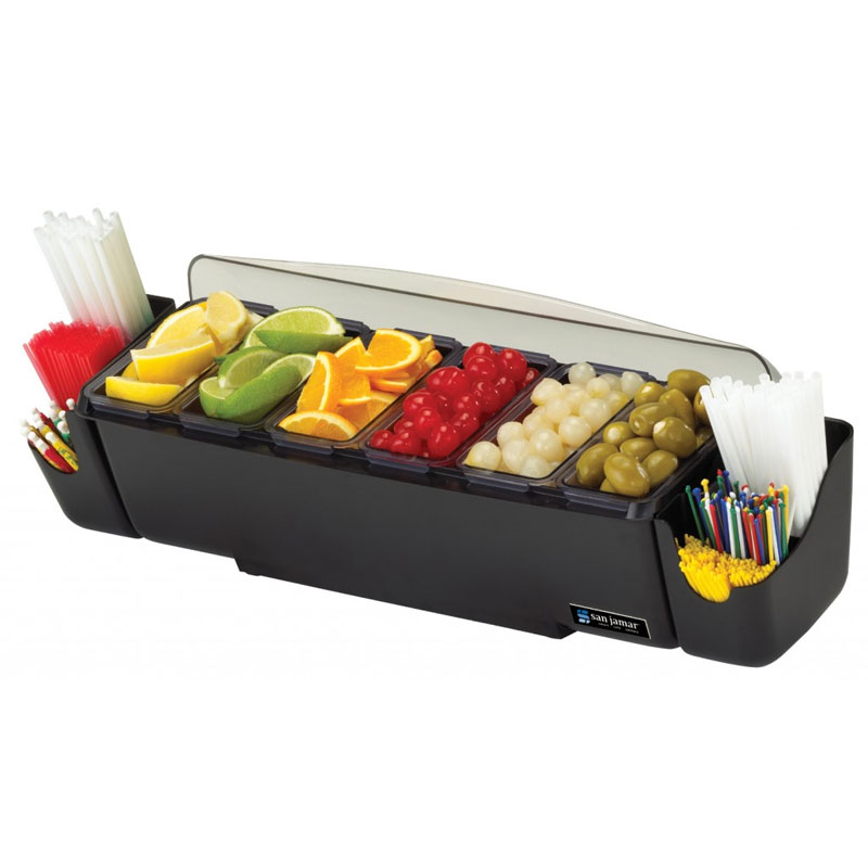 The Dome Bar Garnish Center, 8-Compartments, Black/Clear, 3 Quarts
