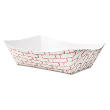 Paper Food Baskets, 3lb Capacity, Red/White BWK30LAG300