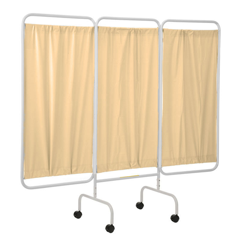 Portable three panel patient privacy screen beige unoclean for Temporary privacy screen