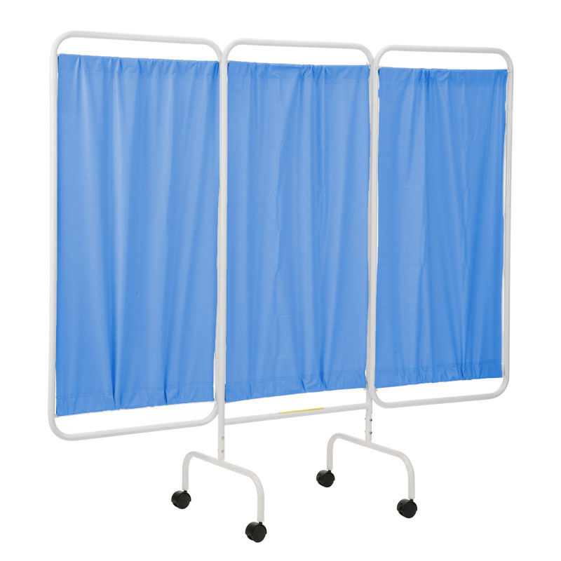 R&B Wire Portable Three Panel Patient Privacy Screen - Blue Vinyl